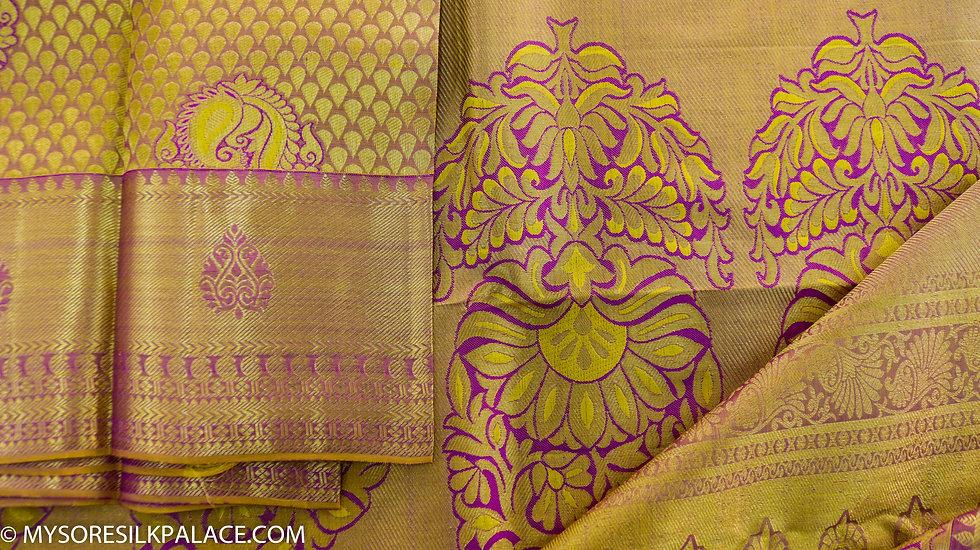 MSP Gold Magenta Pure Silk Saree