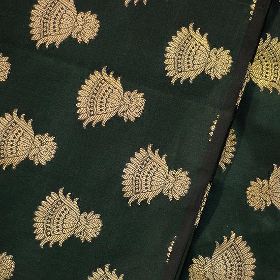 MSP Bottle Green Broket Mottives Silk Fabric