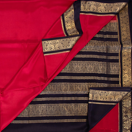 MSP Red Pure Mysore Silk Saree/ BlackPallu