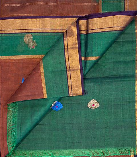 MSP Brown Pure Cotton Saree
