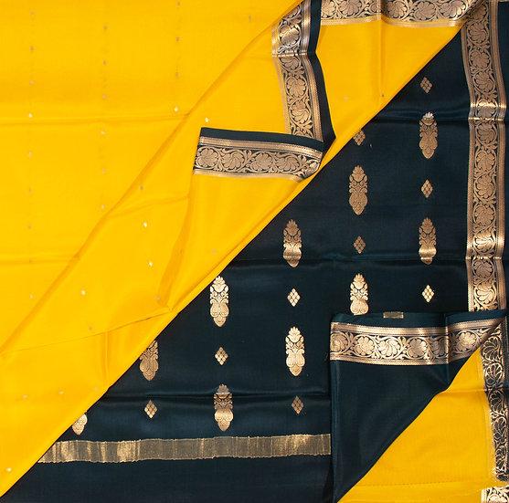 MSP Yellow Small Motives Pure Mysore Silk Saree