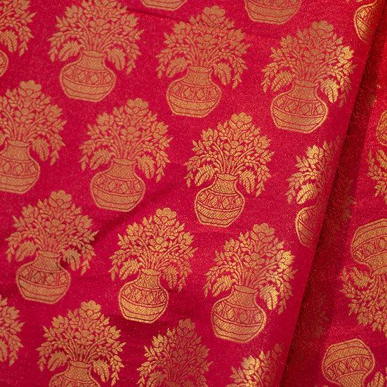 MSP Red Katan Kalamkari Silk Fabric