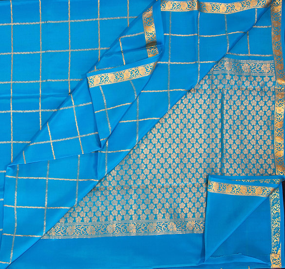 MSP Sky Blue Big Checks Pure Mysore Silk Saree