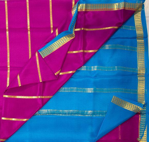 MSP Majenta Zari Lines Pure Mysore Silk Saree/ Patli