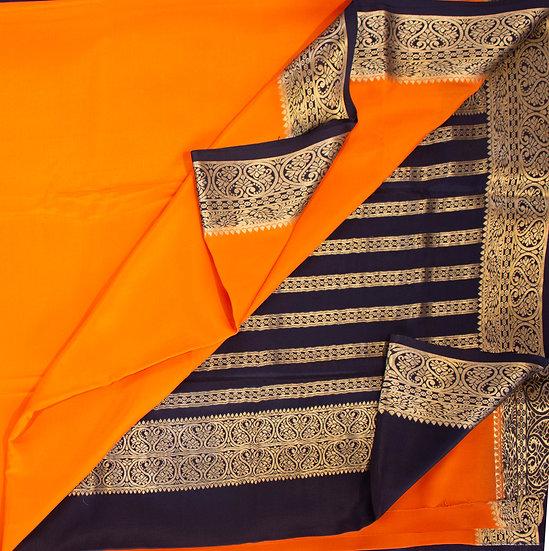 MSP Orange Pure Mysore Silk Saree