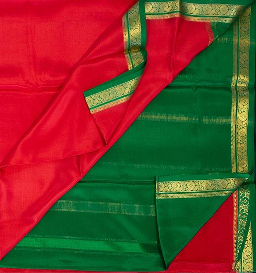 MSP Plain Red Pure Mysore Silk Saree