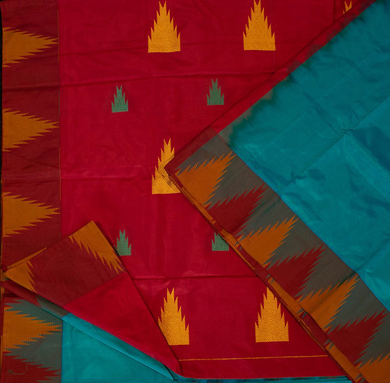 MSP Kathan Kadiyal Pure Silk Saree (turquoise)