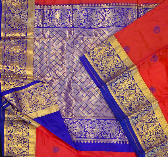 MSP Pure Silk Saree  Rust Red