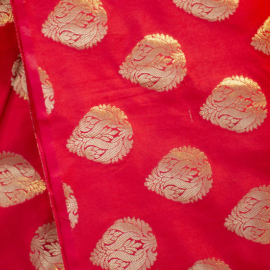 MSP Red Broket Mottives Silk Fabric