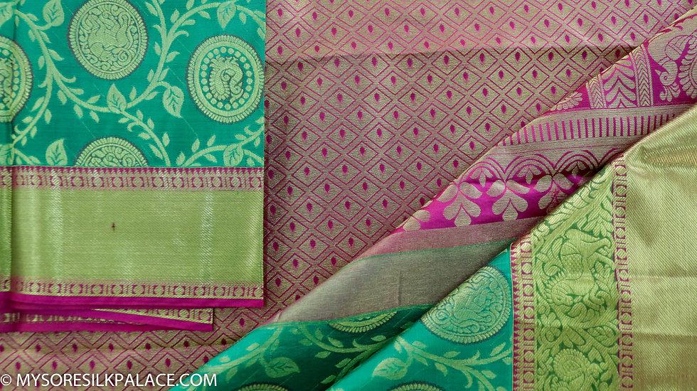 MSP Designer Green Pure Handloom Silk Saree