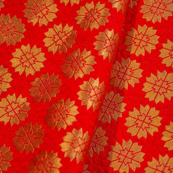 MSP Red Jaquard and Broket Silk Fabric