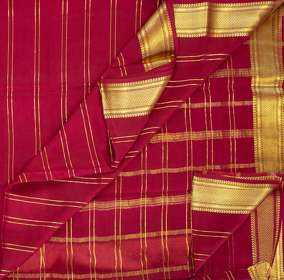 MSP Red Lines Pure Mysore Silk Saree