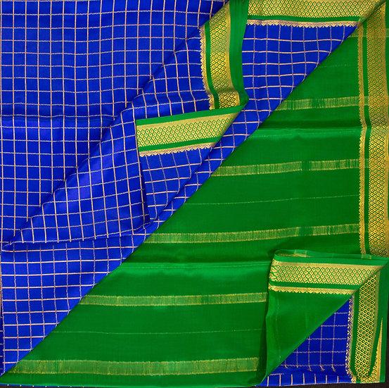 MSP Blue Checks Pure Mysore Silk Saree