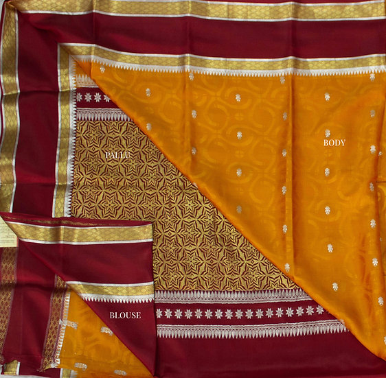Traditional Mustard body with contrasting maroon Rich pallu