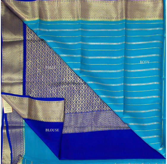Blue Gold and Silver Strips with Contrast Rich Pallu