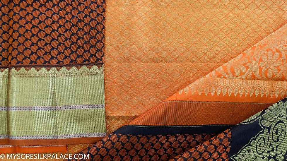 MSP Black and Orange Pure Handloom Silk Saree