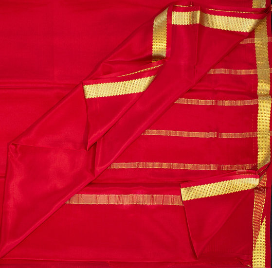 MSP Plain Red Pure Mysore Silk Saree