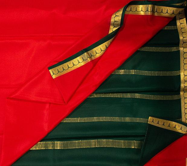 MSP Red Multi-Color Border Pure Mysore Silk Saree