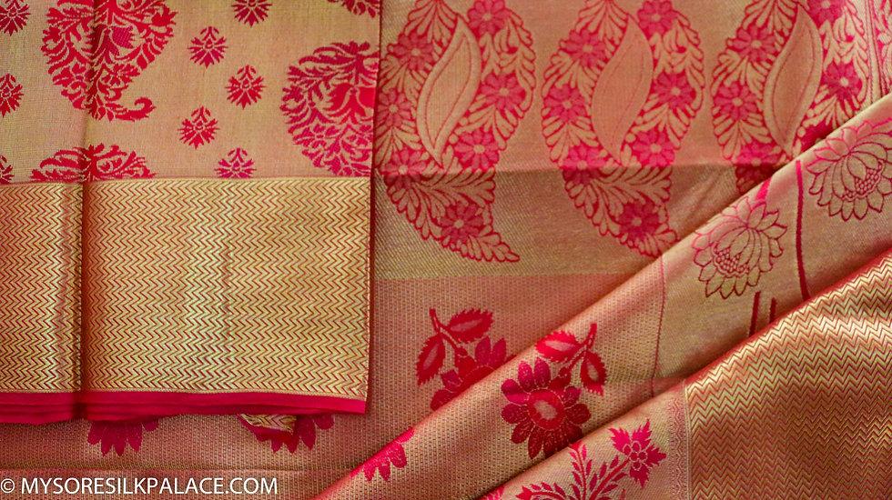MSP Orange Pure Handloom Silk Saree