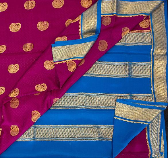 MSP Kanchi Majenta Pure Mysore Silk Saree (Big Motive)