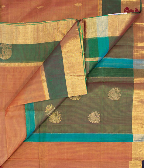 MSP Dark Beige Pure Cotton Saree