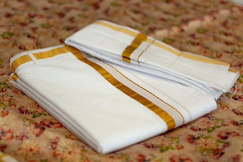 MSP Small Jari Border Cotton Velcro Dhoti (Dhoti+Towel)