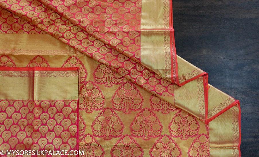 MSP Reddish Pink Pure Silk Saree