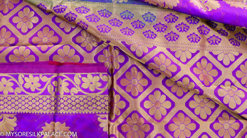MSP Purple and Pink Pure Handloom Silk Saree