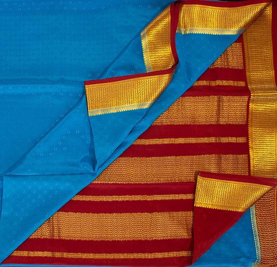 MSP Blue Pure Mysore Silk Saree