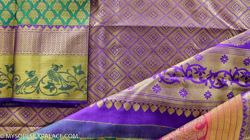 MSP Multi Border Green and Red Pure Handloom  Silk Saree