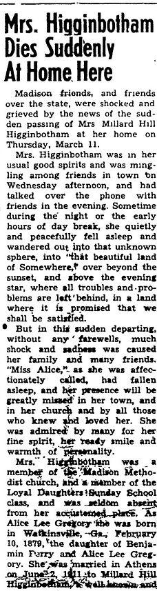 Obituary_HIGGINBOTHAM_mrsMHsrAliceG-1954