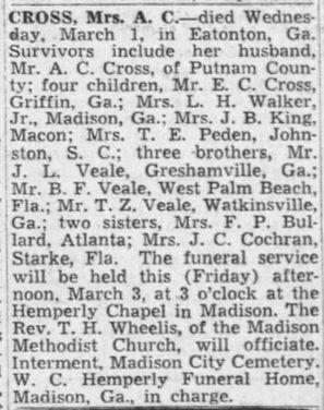CROSS_JanieMillingVeale_1950-funeralnoti