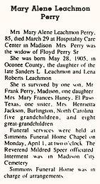Mary Alene Leachmon Perry