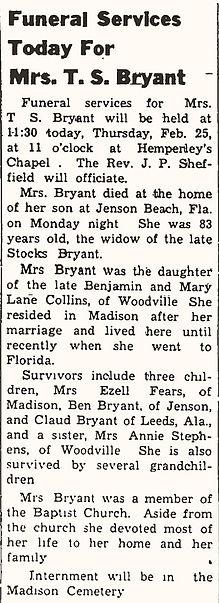 Bryant Sarah E Collins Fairv Feb 25 1960