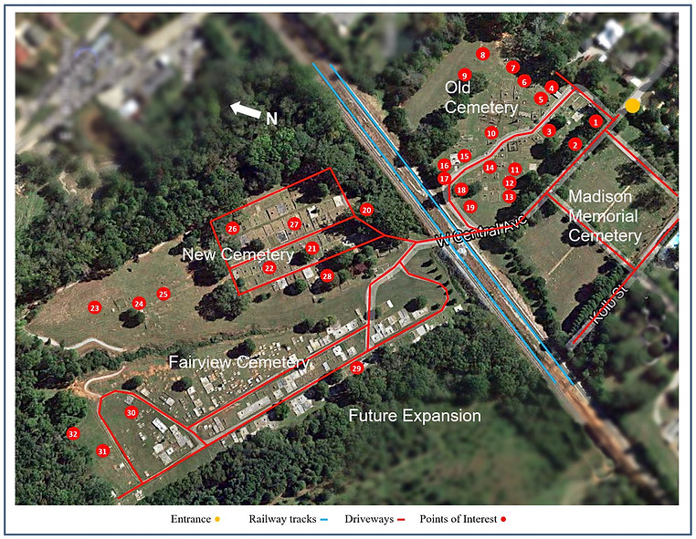 Aerial view of Madison's four historic cemeteries. Numbers correspond to the list of interesting memorials, architcture, burials, and sections.