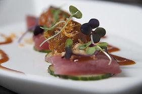 Ahi Tuna with Cucumber, Avocado, Crispy Tempura Bits & Togarashi Vinaigrette