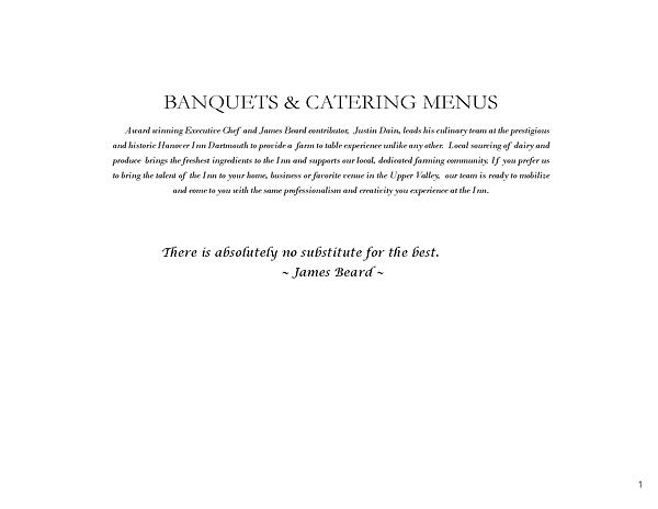 Hanover Inn Dartmouth Banquet Menu 2018