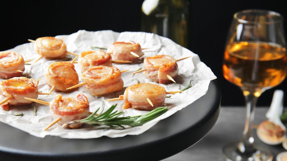 1 Dozen Scallops & Bacon