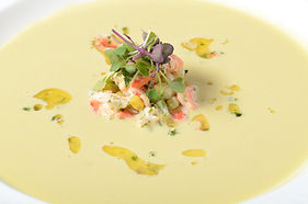 Chilled Corn Soup with Maine Lobster & Chive Salad