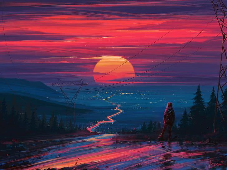 sunset-figure-art-art-aenami-hd-wallpape