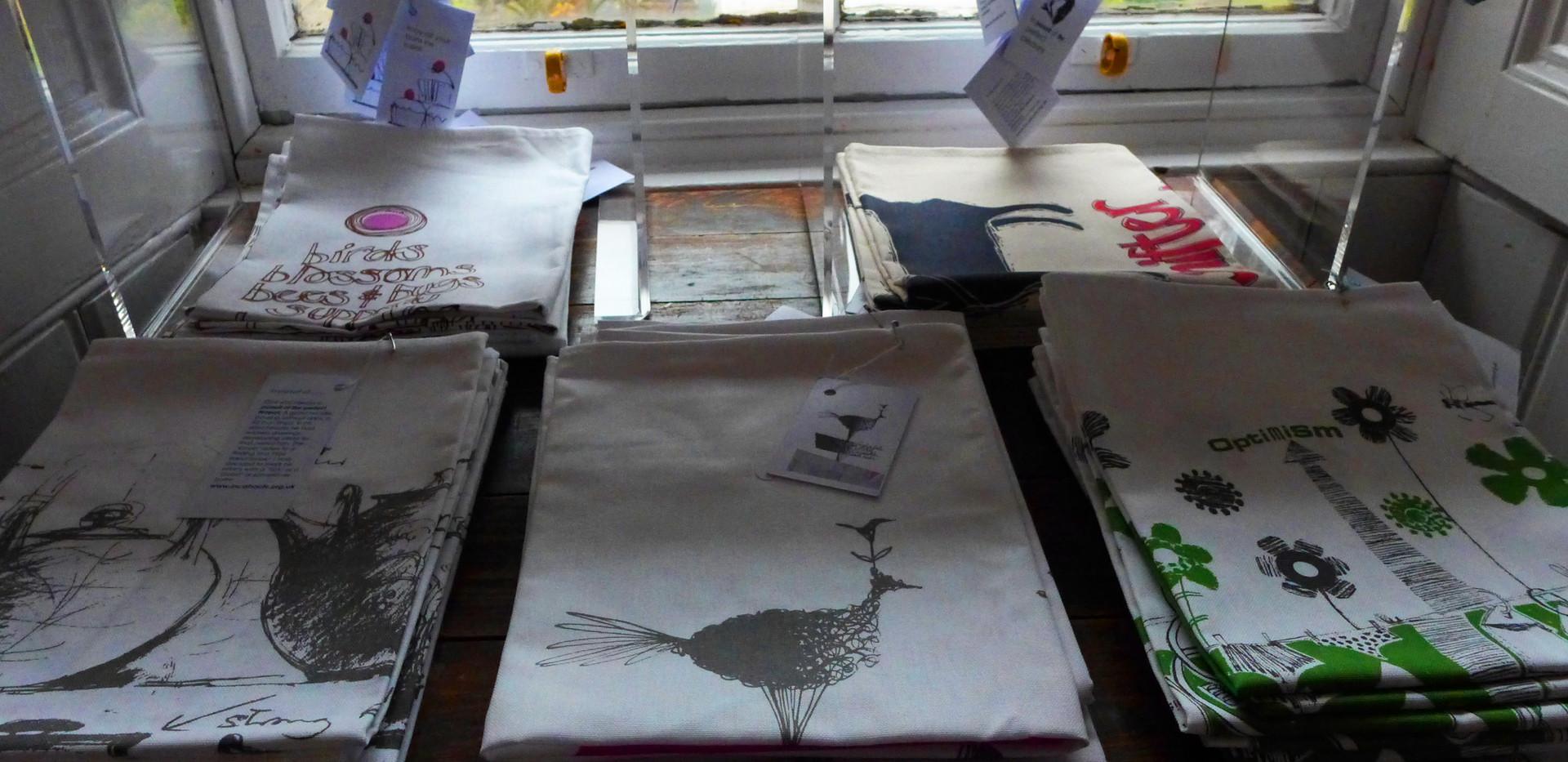 Tea towels on display