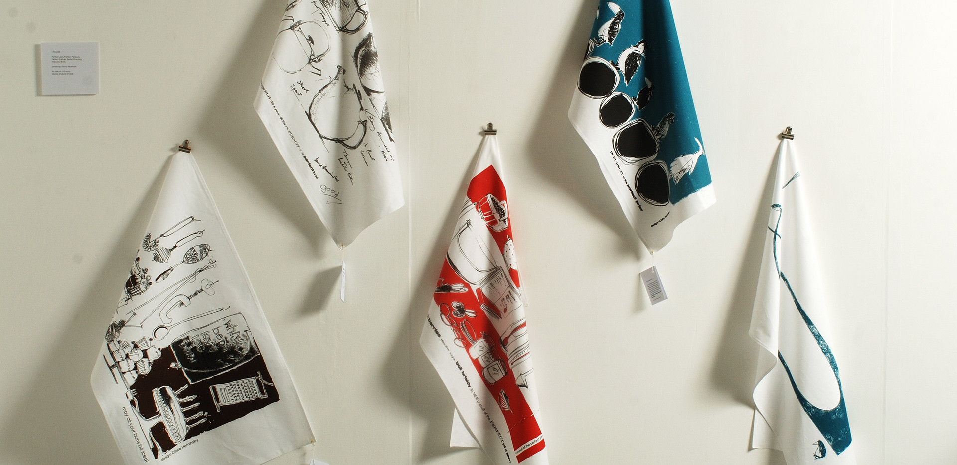 Tea towels on display
