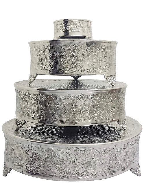 Wedding Cake Plateau Round Silver Finish