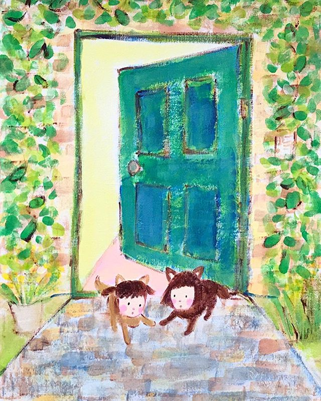 自作絵本のイラスト1_・_「お外では手をつなぐのよ」_・_#jilljillin