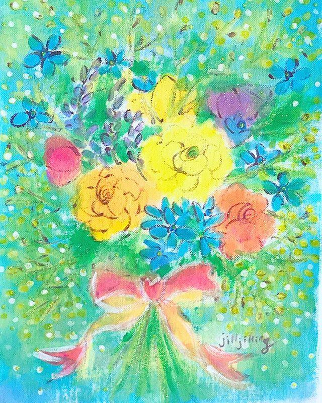 ラナンキュラス、ブルースター、ミモザの花束💐_・_#jilljilling #
