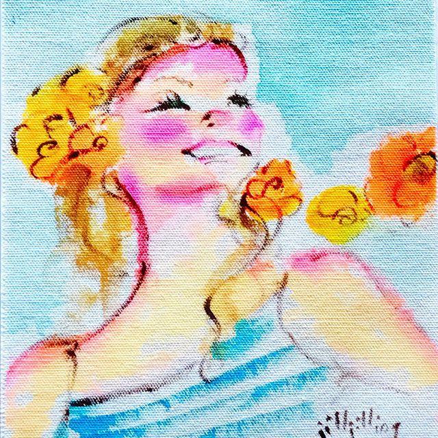 オレンジの花と女の子