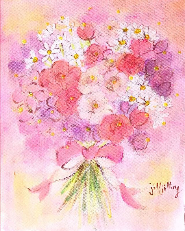 スイートピーとバラの花束💐_・_#jilljilling #ジルジリング #i
