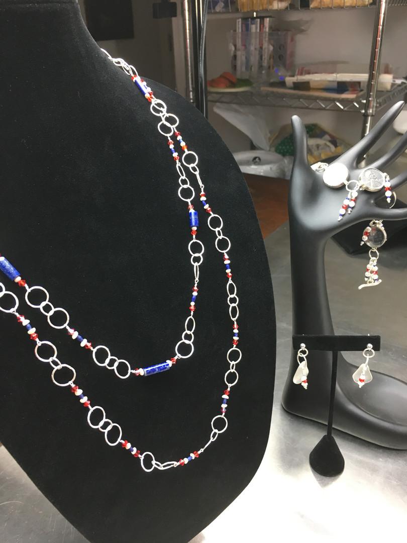 Long Lapis Linked Necklace