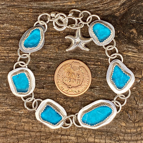 Electric Blue Seaglass Bracelet
