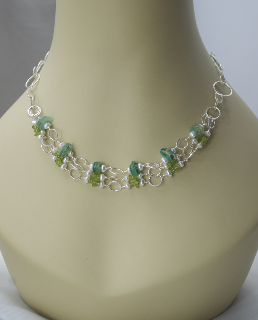 Peridot, Pearl, and Roman Glass Necklace